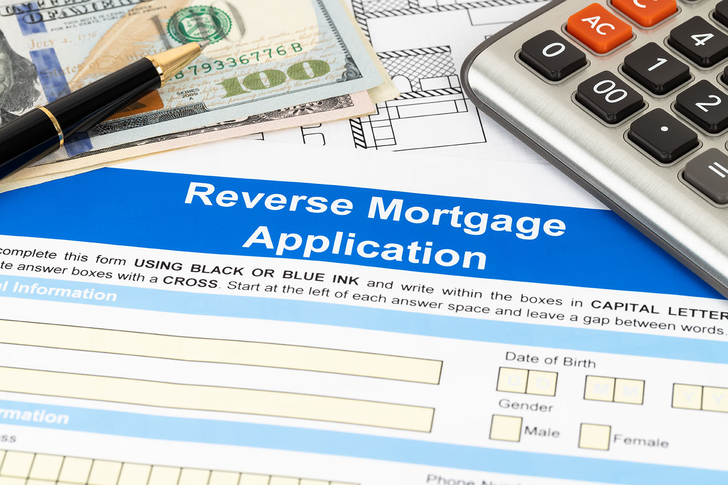 Reverse mortgage application form, financial concept